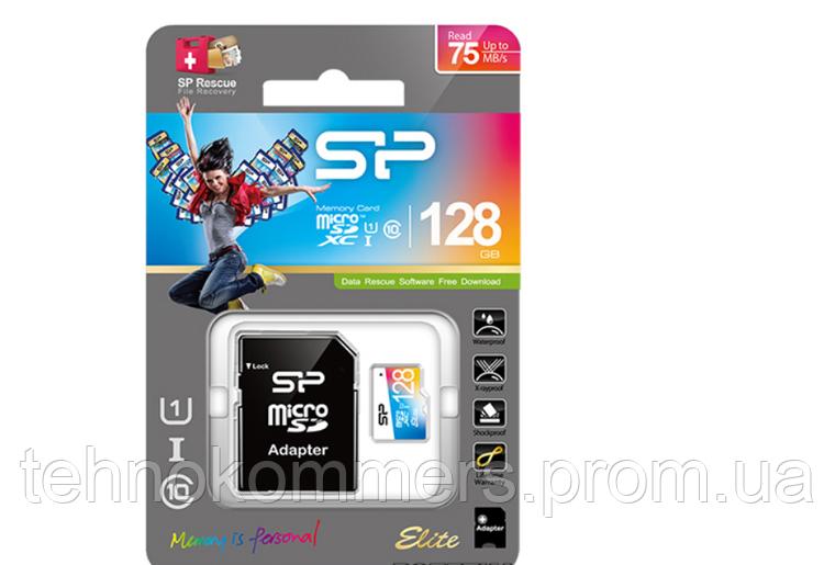 MicroSDXC (UHS-1 U1) SiliconPower Elite Color 128Gb class 10 A1 V10 (adapter SD), фото 2