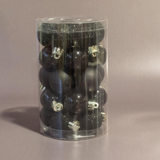 Набор елочных шаров 3 см 25 шт черный