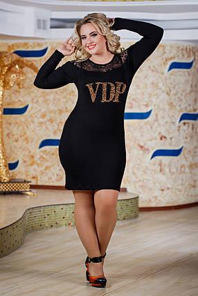 Д2589 Платье размеры 48-54 Черный, фото 2