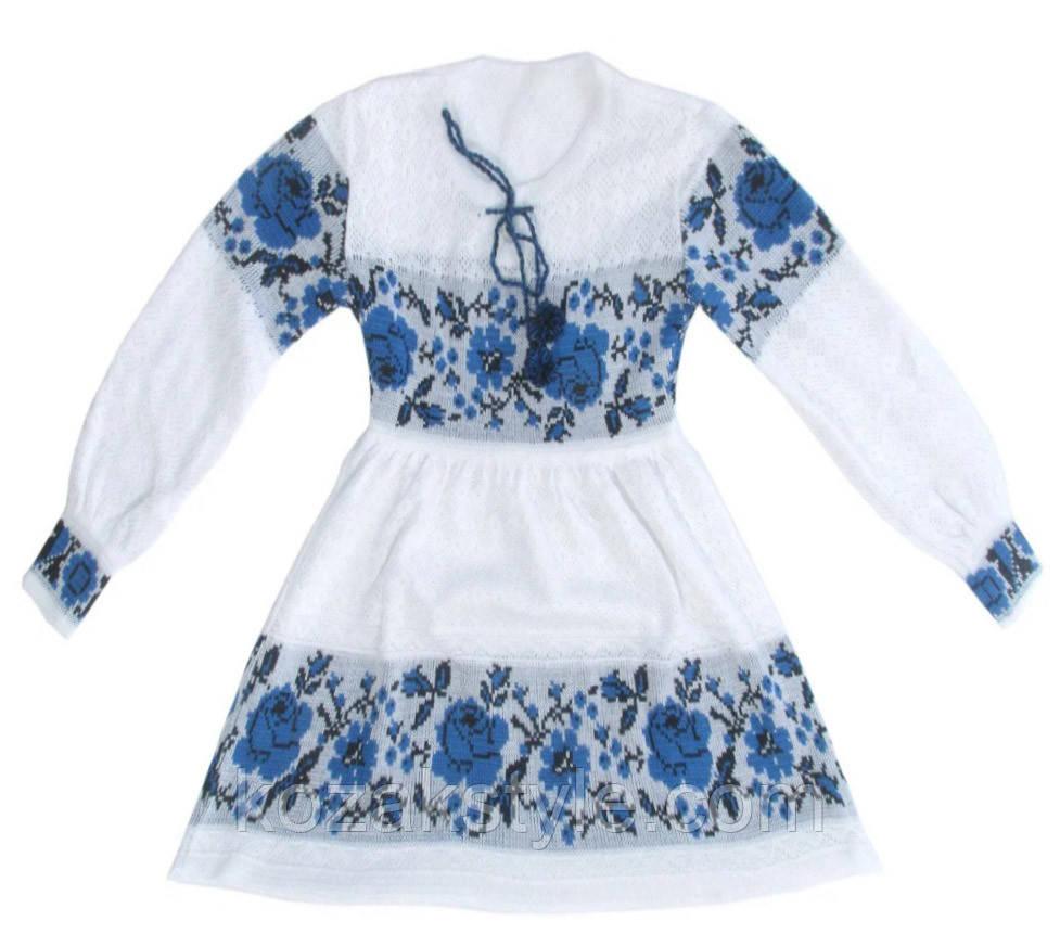 Українське плаття для дівчинки Троянда синя