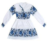 Українське плаття для дівчинки Троянда синя, фото 1