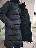 Мужская зимняя куртка длинная парка черная Турция. Живое фото. Чоловіча куртка