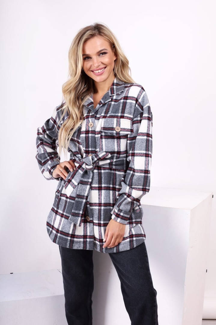 Рубашка-пальто в клетку серого цвета  от YuLiYa Chumachenkо