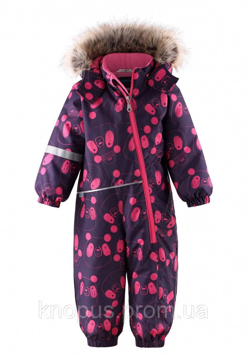 Зимний комбинезон  для  девочки синий с розовым Панды, Lassie by Reima, размеры 74-98