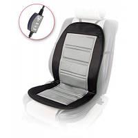 Накидка на сиденье с подогревом, черная-серая, 98x50 см Vitol H96024 GY/BK