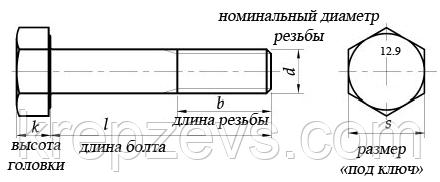 Высокопрочный болт М27 маркировка 12.9