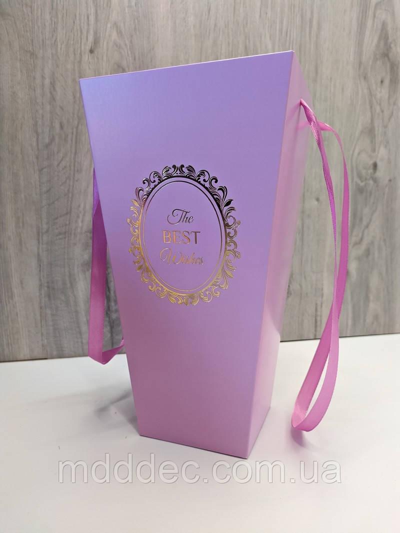Пакет для цветов и подарков высокий Сиреневый