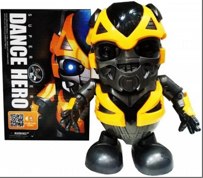 Интерактивная игрушка танцующий  робот трансформер Бамблби со световыми и звуковыми эффектами (KG-341)