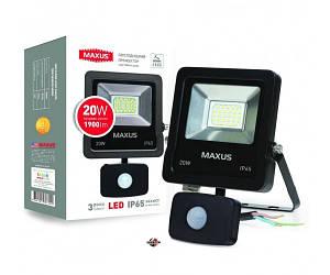 MAXUS 1-MAX-01-LFL-2050S Прожектор светодиодный с датчиком движения 20W, 5000 K, IP65