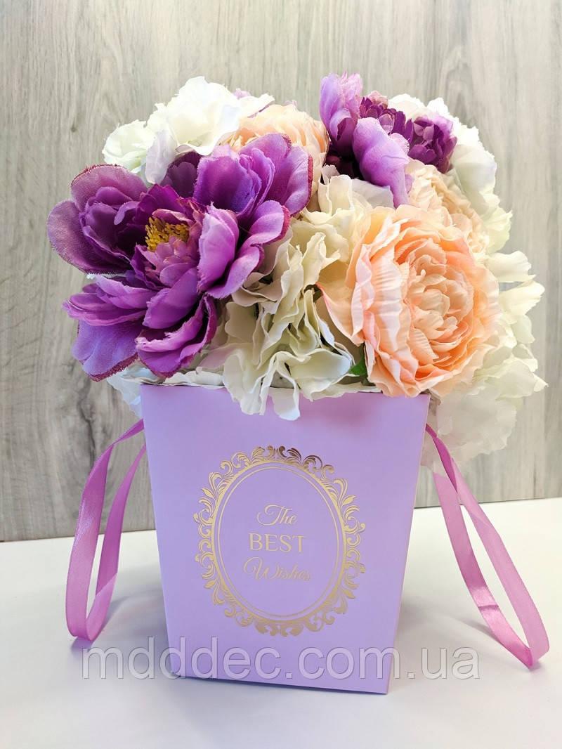 Пакет для цветов и подарков малый Сиреневы