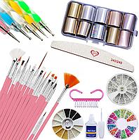Набор для дизайна ногтей. Декор для маникюра: Кисти для дизайна, стразы, дотсы, пилочка, фольга для дизайна.