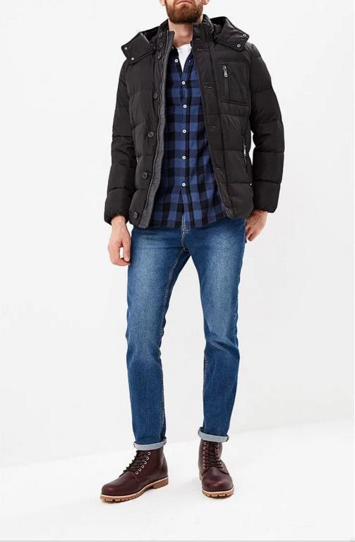 Стильная мужская демисезонная куртка фирменная GEOX, цвет темно синий, размер 52