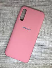 Чехол с микрофиброй для Samsung A30S 2019 (A307F) оригинальный SiliconeCase с логотипом противоударный розовый
