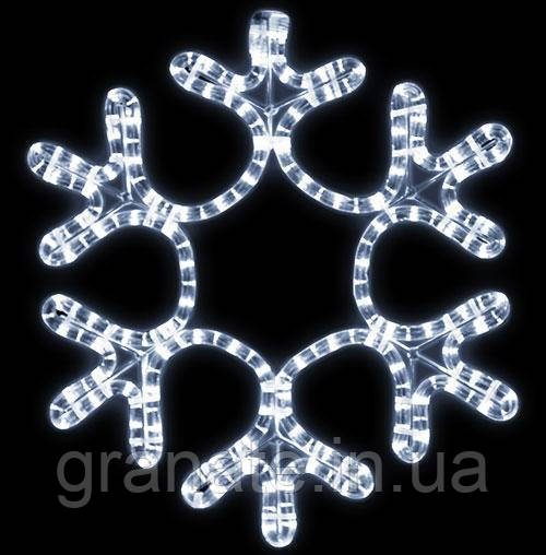 Светодиодная Снежинка 30 см, цвет - холодный белый