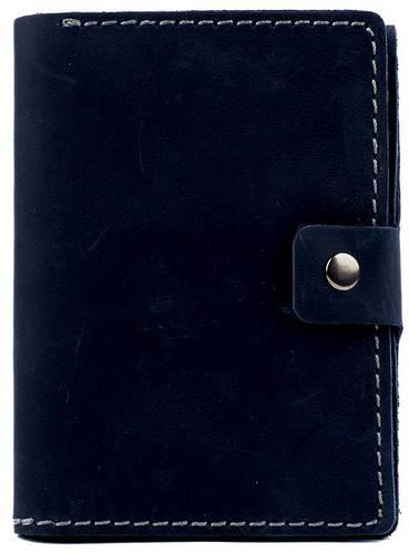 Мужская кожаная обложка для документов с отделением для купюр Black Brier ОП-5-97 темно-синий