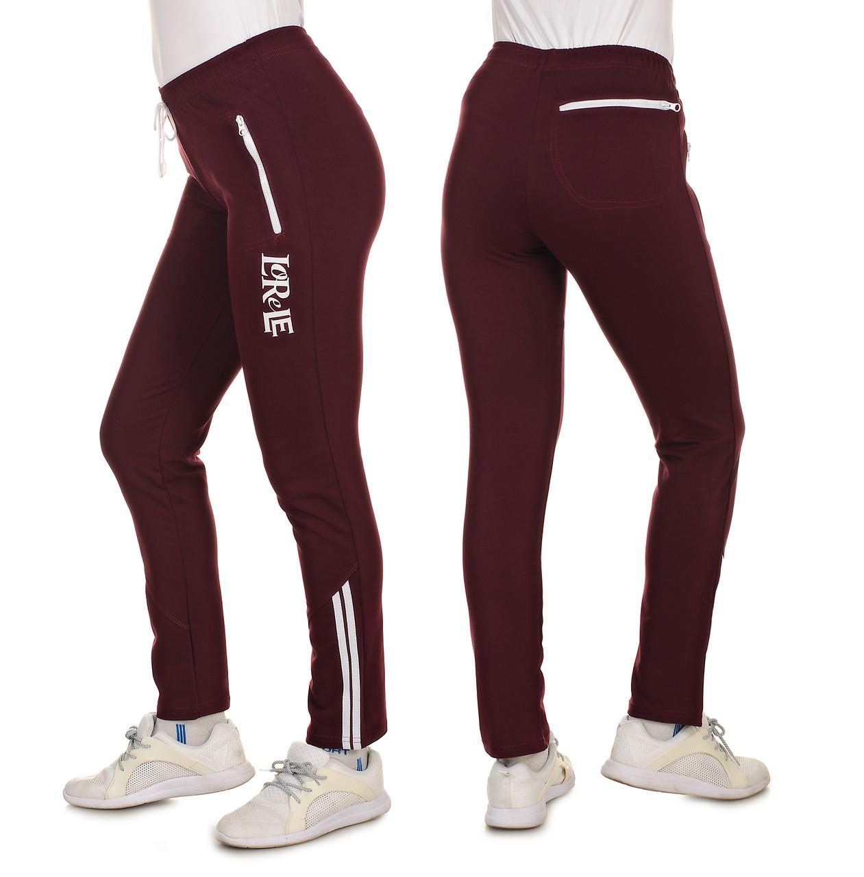 Жіночі демісезонні трикотажні брюки з двухнитки з лампасом, прямі, Розміри 44-46