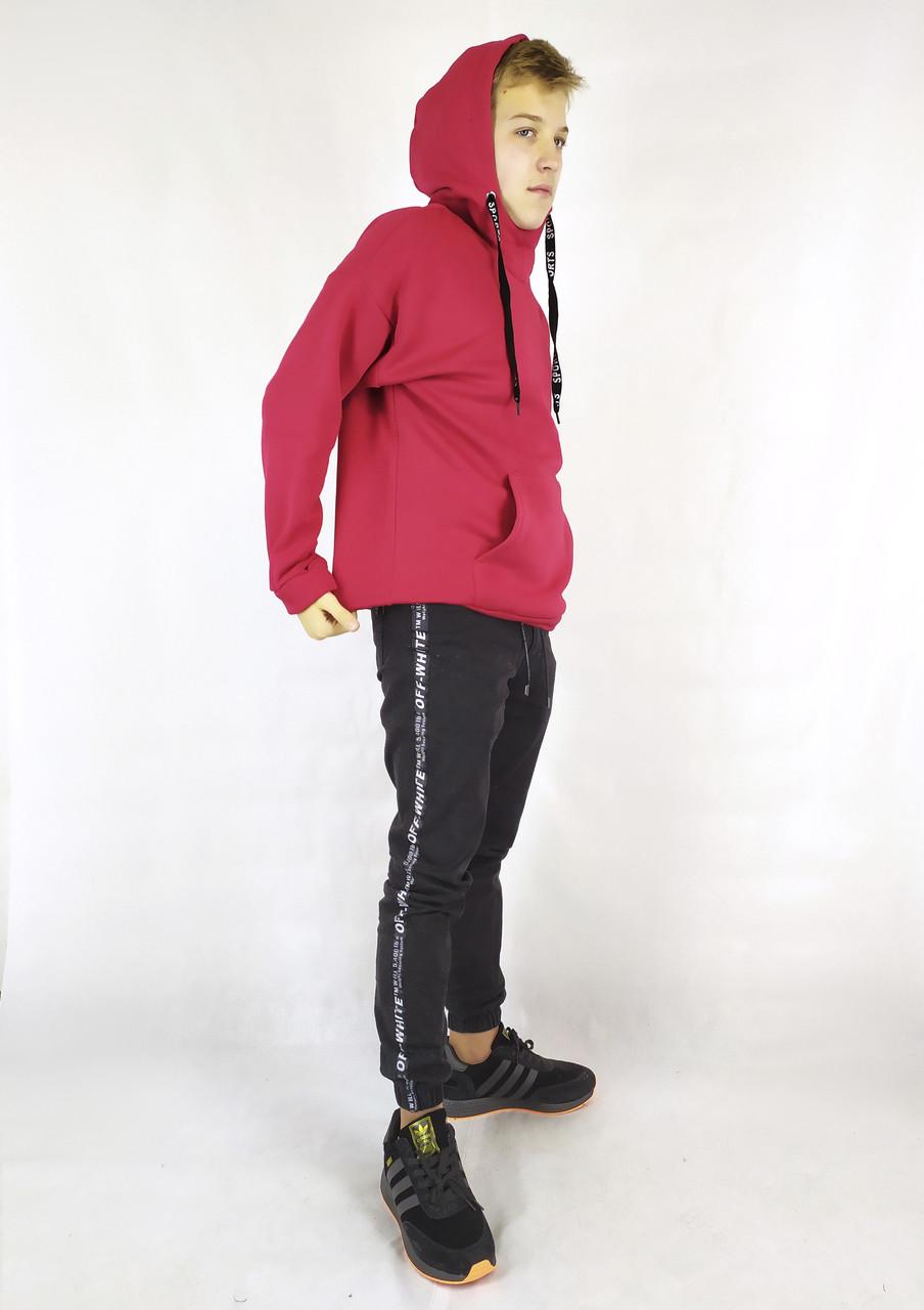 Зимняя мужская кенгурушка на флисе с капюшоном красного цвета XL, XXL, 3XL