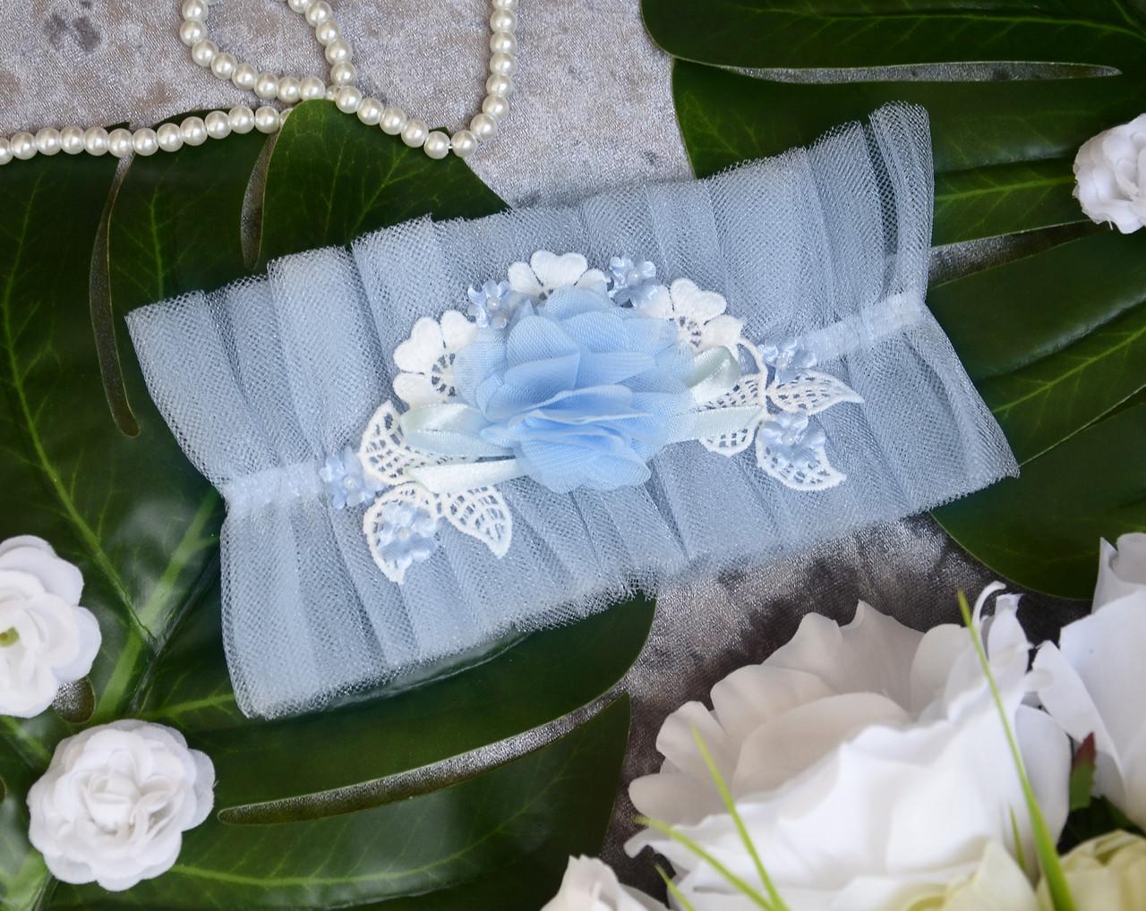 Свадебная голубая подвязка на ногу для невесты
