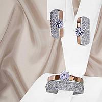 Женский серебряный набор украшений с золотыми пластинами и белыми фианитами Мария 2, фото 1