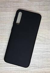 Чехол с микрофиброй для Samsung A50 2019 (A505F) оригинальный Silicone Case противоударный черный