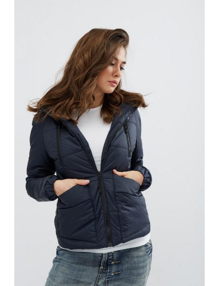 Женская весенняя темно синяя куртка с капюшоном