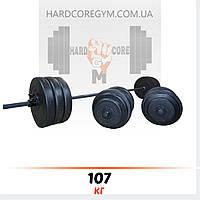 Штанга (2 м) + гантели (45 см) | 107 кг