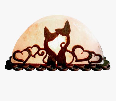 Соляна лампа SaltLamp Коти з серцями 1,5 кг