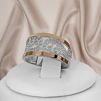 Кільце жіноче з срібла 925 проби з золотими пластинами Уляна
