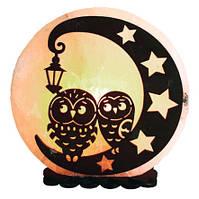 Соляная лампа SaltLamp Совы на луне 3-4 кг