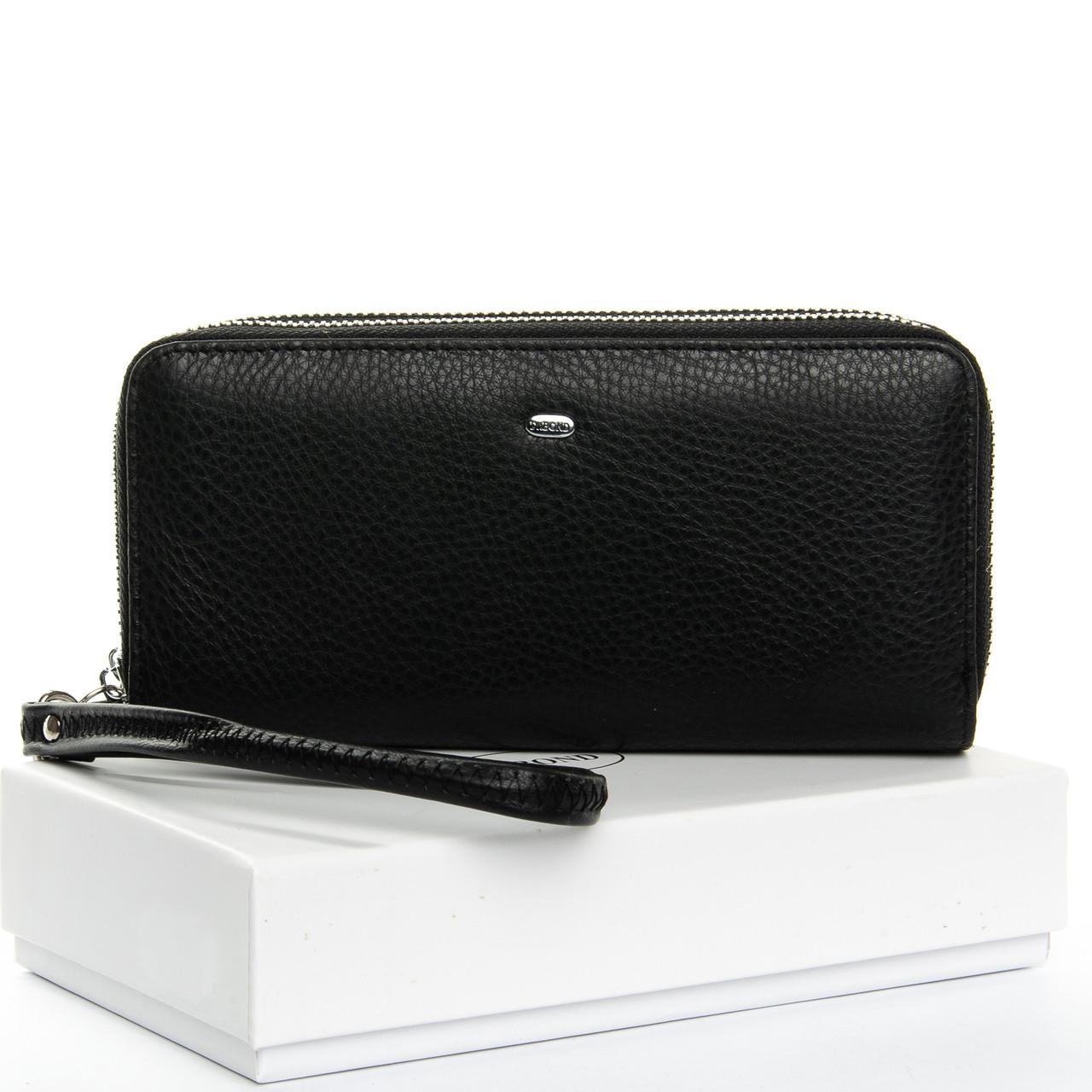 Женский кошелек на две молнии кожаный черный Dr.Bond W39-3 black