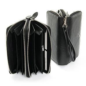 Женский кошелек на две молнии кожаный черный Dr.Bond W39-3 black, фото 2