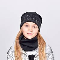 Комплект ангора Злата (шапка+хомут) черный
