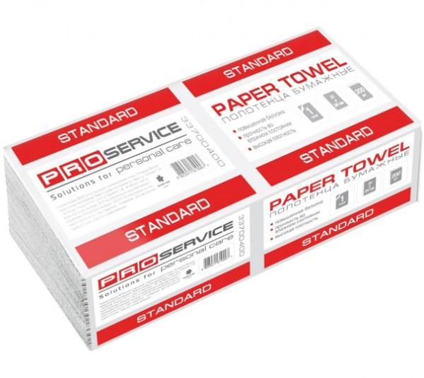 PRO service Полотенце бумажное Standart V-сложения, 1-слойное, 200 шт., Белый