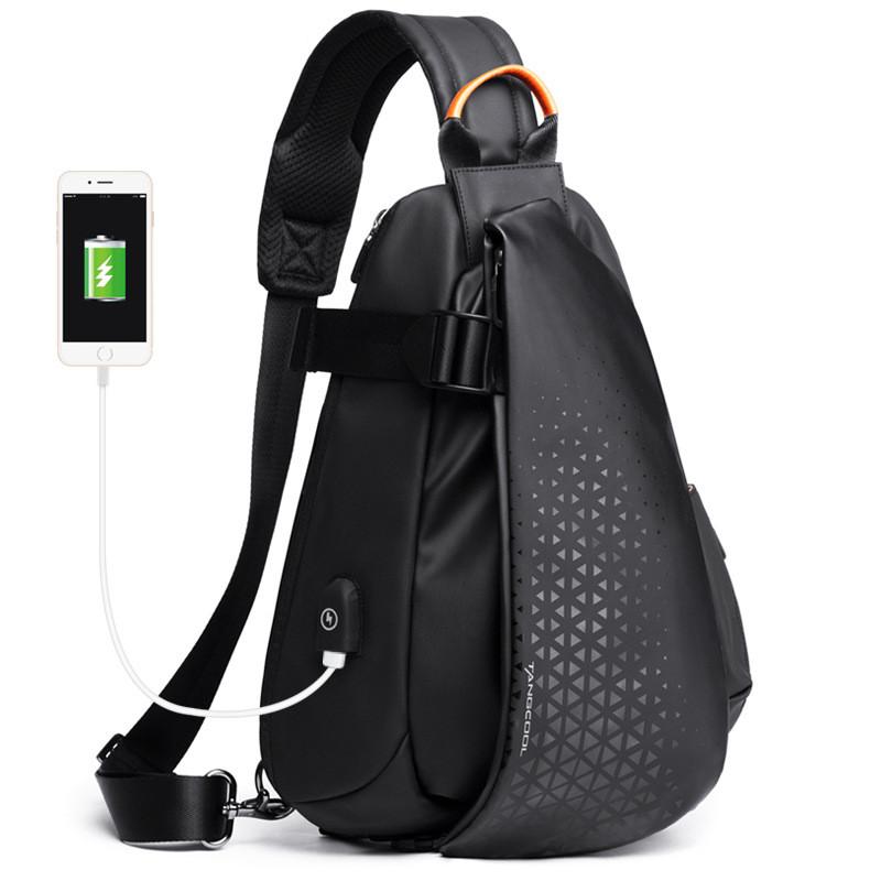 Крутой однолямочный рюкзак через плечо Tangcool TC901-1, с USB портом, влагозащищённый, 10л