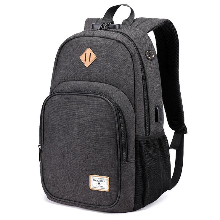 Тканевый городской рюкзак Golden Wolf GB00377 с кодовым замком, USB портом и отверстием для наушников, 20л