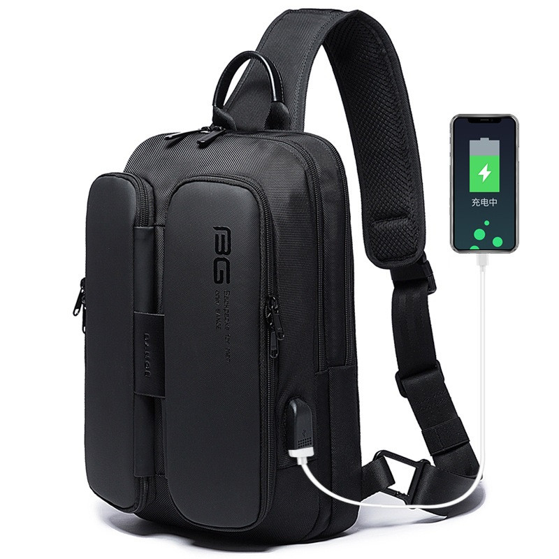 Городской однолямочный рюкзак через плечо Bange BG7079, с USB портом и двумя отделениями, влагозащищённый, 6л