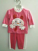 Велюровый костюм на девочку 6-12 мес
