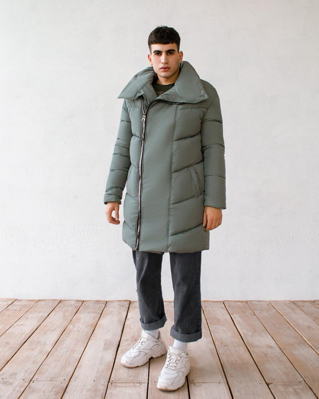Мужская серая удлиненная зимняя куртка парка Oversize Оверсайз