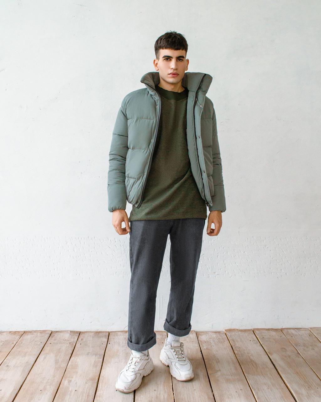 Мужская серая короткая зимняя куртка