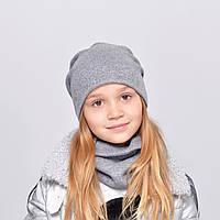 Комплект ангора Злата (шапка+хомут) серый