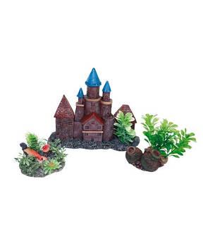 Декор в аквариум Замок с цветами (набор) 24*5,5*21,5 см Croci Amtra