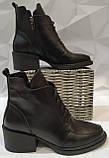 Dolce Gabbana! Женские кожаные зимние ботинки, полуботинки на шнуровке, со змейкой средний каблук. Зима., фото 2