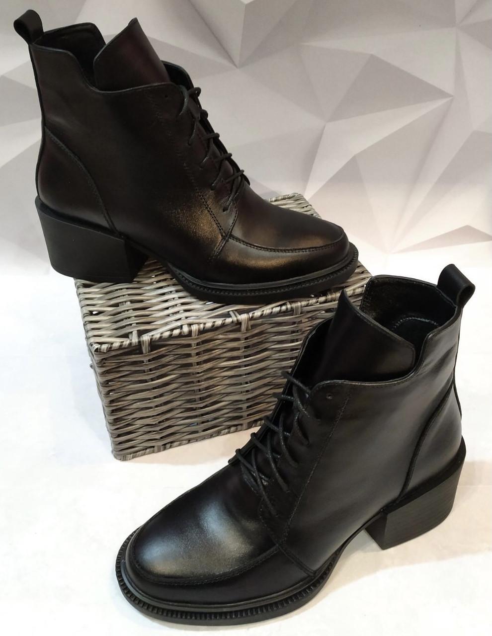 Dolce Gabbana! Женские кожаные зимние ботинки, полуботинки на шнуровке, со змейкой средний каблук. Зима.