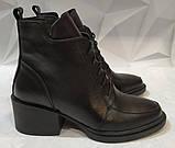 Dolce Gabbana! Женские кожаные зимние ботинки, полуботинки на шнуровке, со змейкой средний каблук. Зима., фото 6