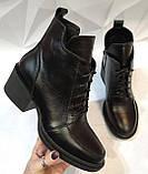 Dolce Gabbana! Женские кожаные зимние ботинки, полуботинки на шнуровке, со змейкой средний каблук. Зима., фото 7
