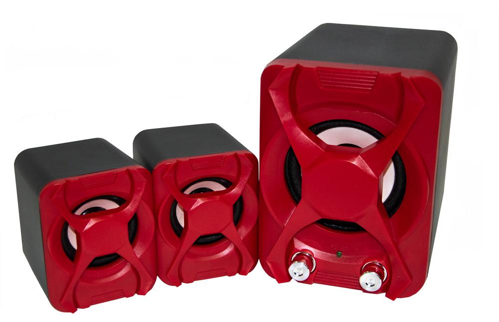 Компьютерная акустика FT-XSD-2 красные, колонки с сабвуфером для компьютера, ноутбука с доставкой