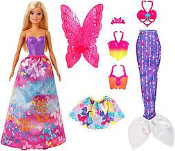 Кукла Барби Barbie сказочное перевоплощение волшебное перевоплощение 3 в 1 Dreamtopia Dress пром