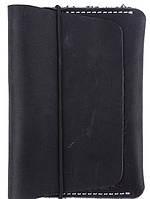 Черная обложка для паспорта на резиновой застежке из натуральной кожи Black Brier ОП-7-35 черный