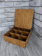 Деревянная коробка для подарка 25*25*8см с ячейками