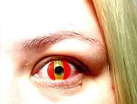Яркие красные линзы .Цветные линзы для глаз. Красные цветные линзы. Красные линзы с желтым.. Крейзи линзы